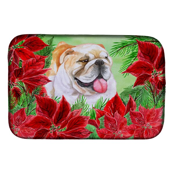English Bulldog Poinsettas Dish Drying Mat by Caroline's Treasures