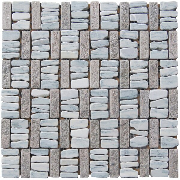 Landscape Wonder 12 x 12 Basketweave Natural Stone Blend Mosaic Tile in Gray and Tan by Intrend Tile