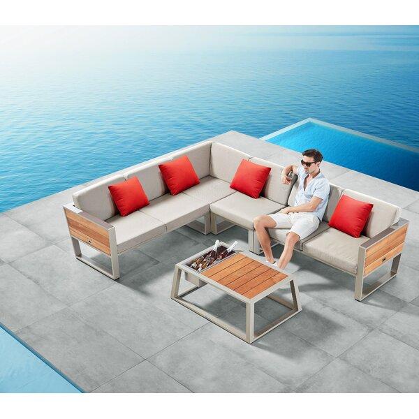 Wilborn 3 Pieces Teak Sunbrella Sofa Seating Group with Cushions