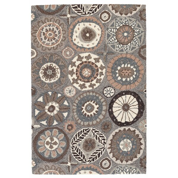 Merry Go Round Neutral Hand Hooked Wool Brown/Cream Area Rug by Dash and Albert Rugs