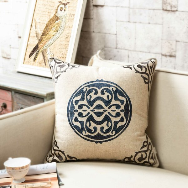 Bannister Embroidered Medallion Throw Pillow by Alcott Hill