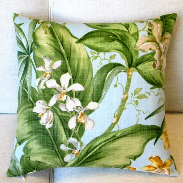 Orchids Tropical Floral Indoor/Outdoor Pillow Cover (Set of 2) by Artisan Pillows
