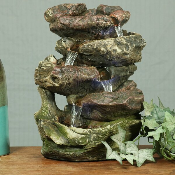 Resin 5-Step Rock Falls Tabletop Fountain with Light by Wildon Home ®