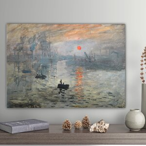 'Impression Sunrise' by Claude Monet Painting Print on Wrapped Canvas by Wexford Home