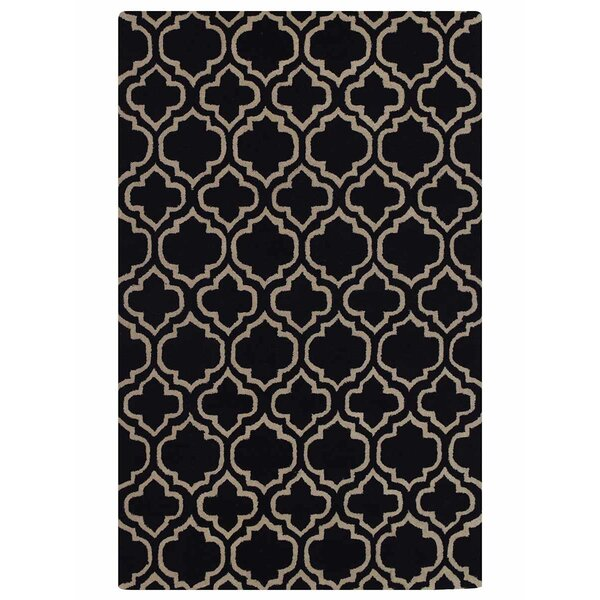Creager Hand-Tufted Wool Black/Beige Area Rug by House of Hampton