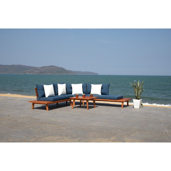 Tess 4 Piece Sectional Seating Group with Cushions by Rosecliff Heights