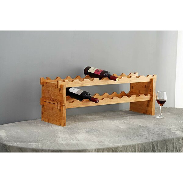 Grena Bamboo Stackable 18 Floor Wine Bottle Rack by Millwood Pines