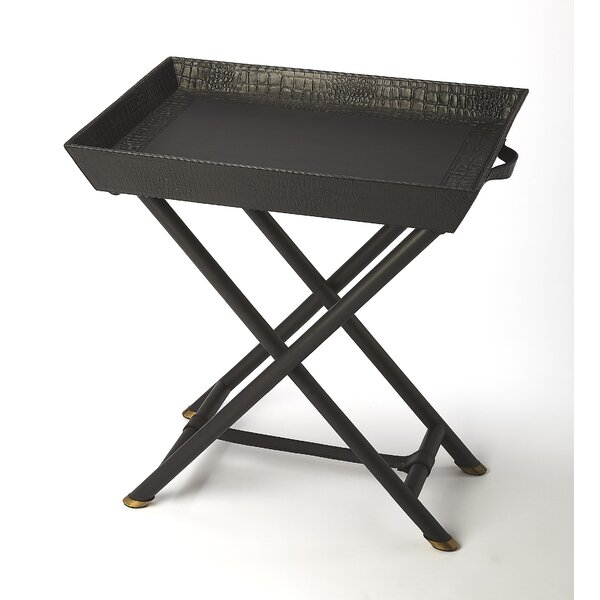 Amato Leather Folding Tray Table