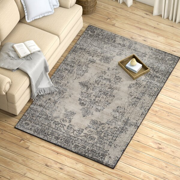Gaines Mist Blue/Castle Gray Area Rug by Ophelia & Co.