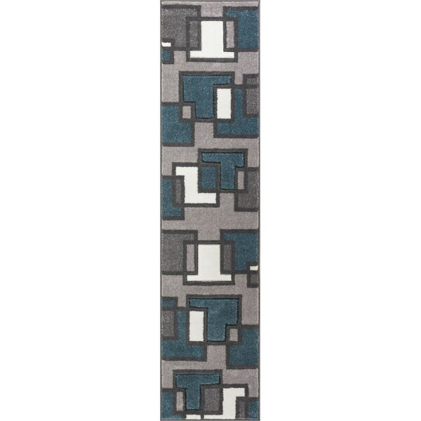 Scheel Squares Blue Area Rug by Wrought Studio