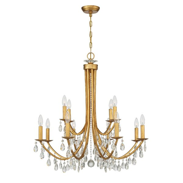 Sanches 12 - Light Unique Empire Chandelier with Wrought Iron Accents by House of Hampton House of Hampton