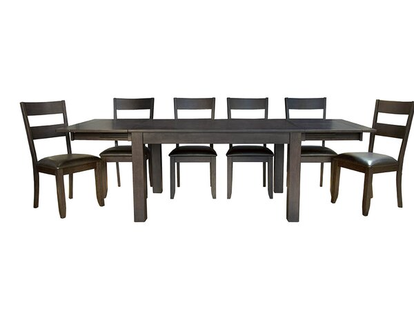 Alder 7 Piece Extendable Solid Wood Dining Set by Loon Peak