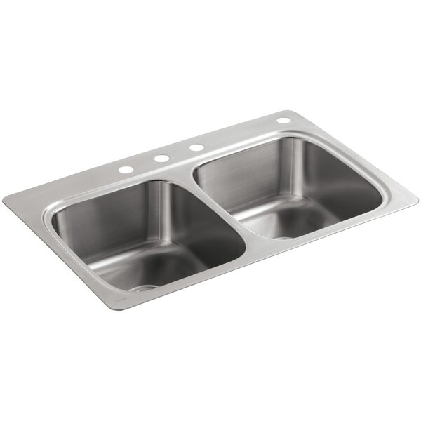 Verse Top-Mount Double-Equal Bowl Kitchen Sink with 4 Faucet Holes by Kohler