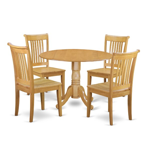 Spruill 5 Piece Drop Leaf Breakfast Nook Solid Wood Dining Set by August Grove