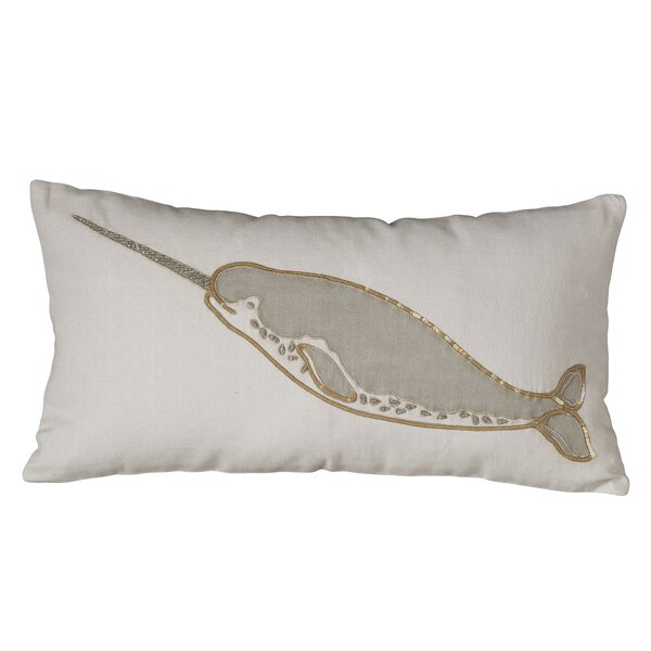 Marina Narwhal Embellished Pillow Cover by Birch Lane™