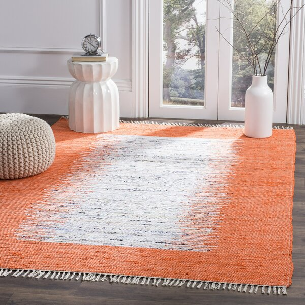 Ona Hand-Woven Cotton White/Orange Area Rug by Beachcrest Home