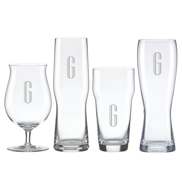 Charcoal Diamond Tuscany Monogram 4 Piece Crystal Assorted Glassware Set by Lenox