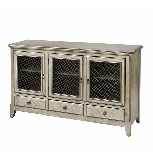 Aurelio 3-door 3-drawer Cabinet In Antique Silver Leaf by Gracie Oaks Gracie Oaks