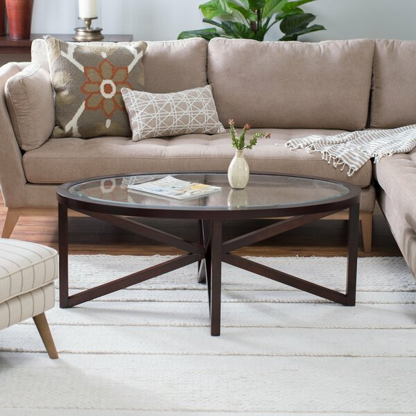 Volarus Solid Wood Cross Legs Coffee Table With Storage By Wrought Studio
