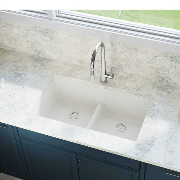 Quartz Luxe 33 L x 19 W Double Basin Undermount Kitchen Sink with Aqua Divide by Elkay