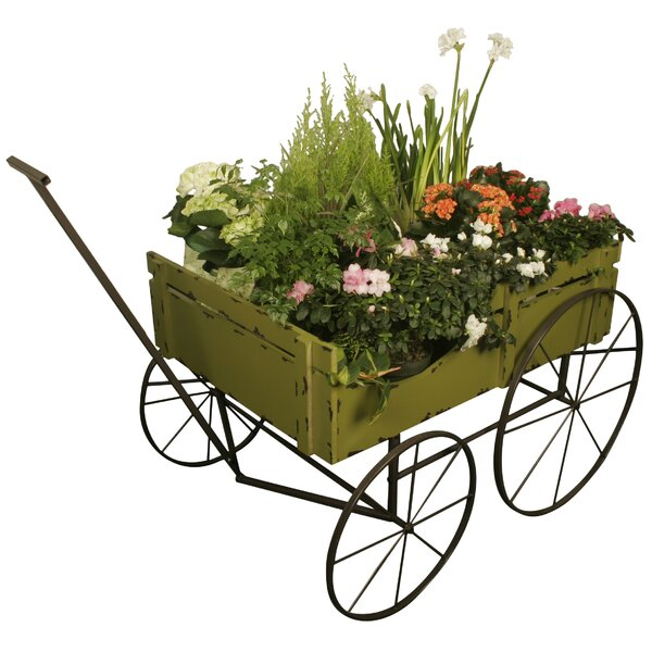 East Broadway Distressed Wood and Metal Wheelbarrow Planter by August Grove