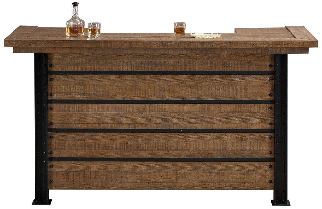 Loon Peak Spring Grove Reclaimed Wood Home Bar with Wine Storage ...