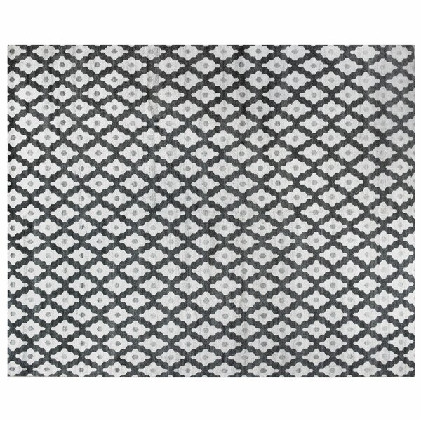 One-of-a-Kind Hand-Knotted Black/White 11'6 x 14'8 Wool Area Rug