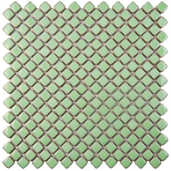 Gem 0.71 x 0.71 Porcelain Mosaic Tile in Glossy Light Green by EliteTile
