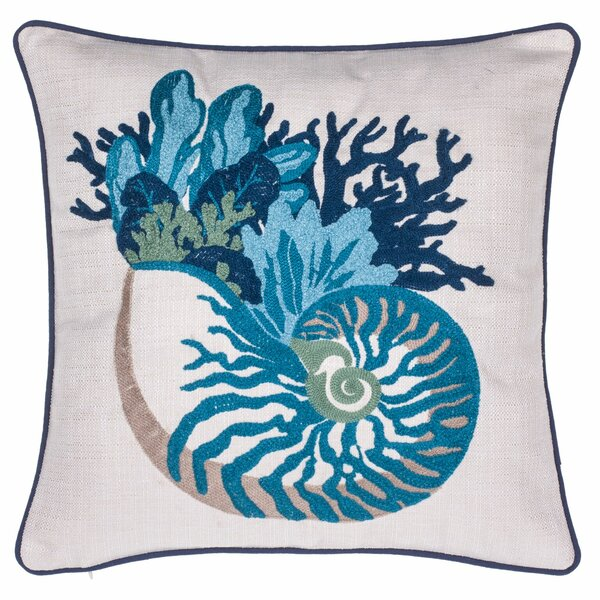 Coral and Sea Snail Crewel Stitch Throw Pillow by 14 Karat Home Inc.