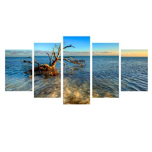 'Ocean View' 5 Piece Photographic Print on Wrapped Canvas Set by Ebern Designs