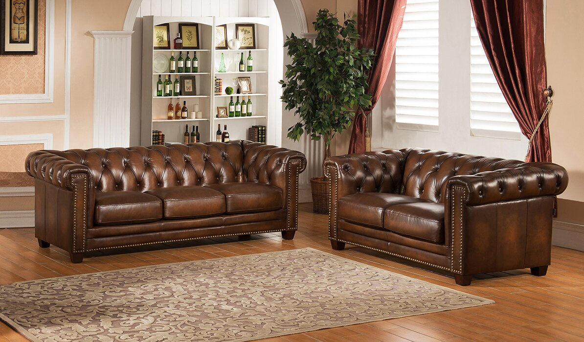 Hickory 2 Piece Leather Living Room Set