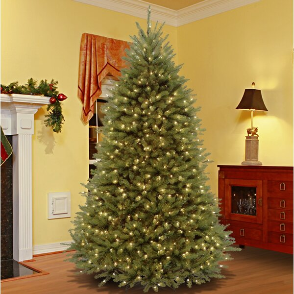 Green Fir Artificial Christmas Tree with 700 Lights Colored and White Lights with Stand by Three Posts