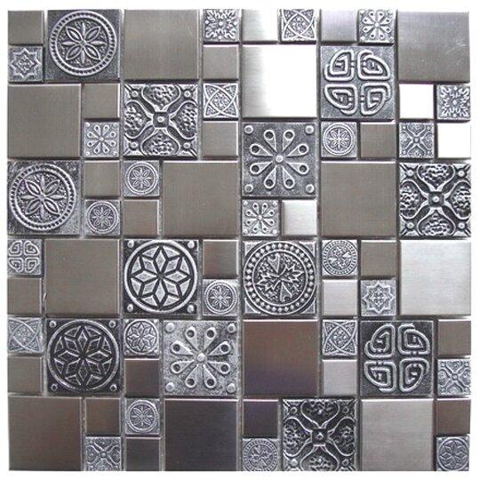 Roman Random Sized 11.8 x 11.8  Mosaic Tile in Silver/Gray by Eden Mosaic Tile