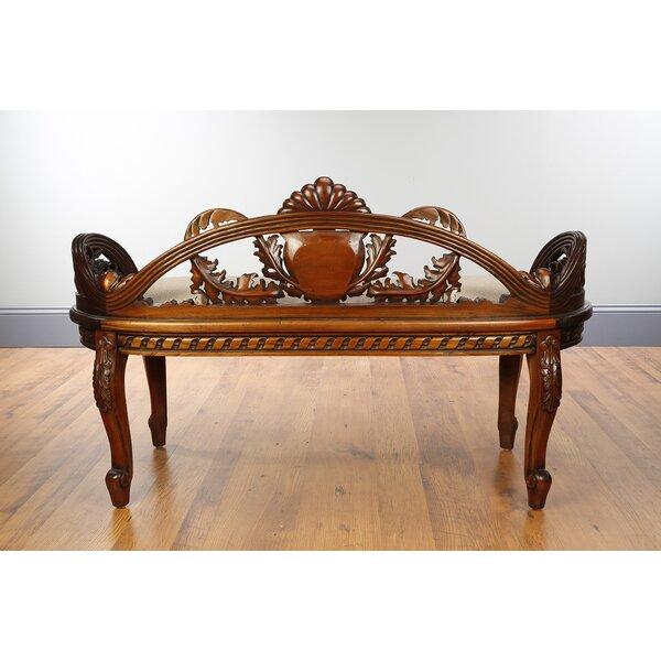 Madonna Oval Mahogany Wood Bench by Astoria Grand