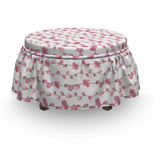 Blossoming Flowers Ottoman Slipcover (Set Of 2) By East Urban Home