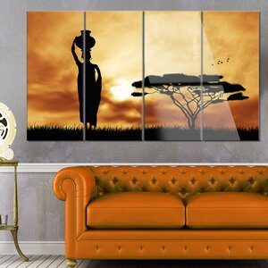 'African Woman and Lonely Tree' 4 Piece Photographic Print on Canvas Set by Design Art