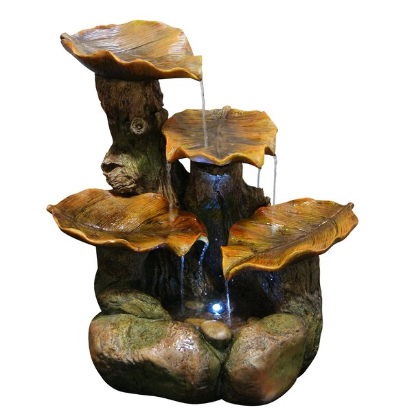 Polyresin and Stone Leaf Tiered Fountain by Woodland Imports