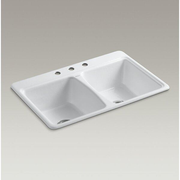 Deerfield 33 x 22 Top-Mount Double-Equal Kitchen Sink With 3 Faucet Holes by Kohler