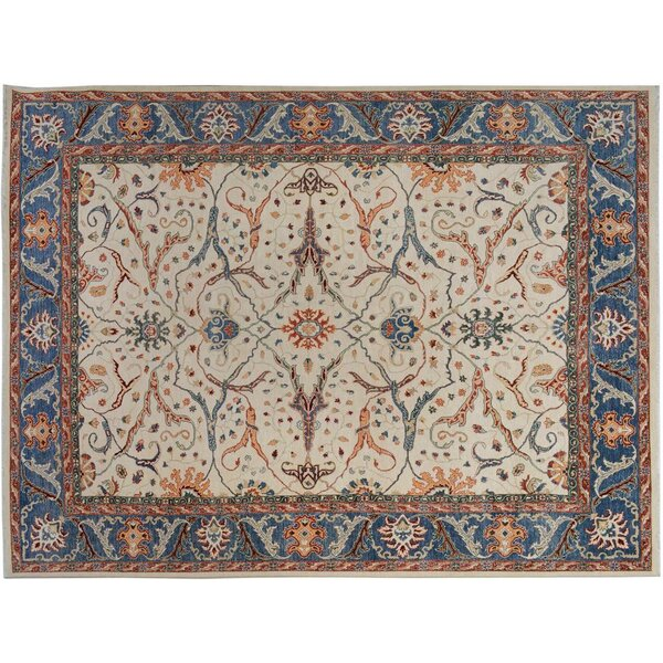 Badham Hand-Knotted Wool Ivory/Blue Area Rug by Bloomsbury Market