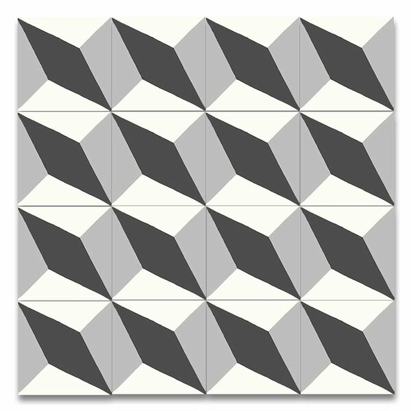 Diamond 8 x 8 Handmade Cement Tile in Black and Gray by Moroccan Mosaic