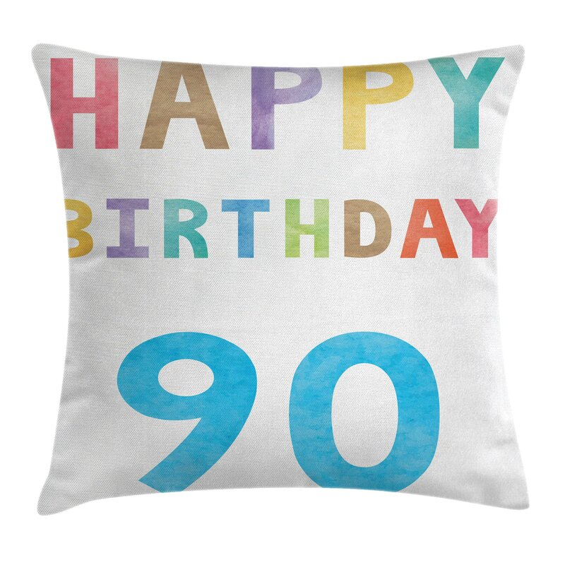 Colorful Happy 90th Birthday Square Pillow Cover