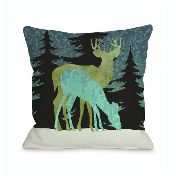 Silent Night Reindeer Throw Pillow by One Bella Casa