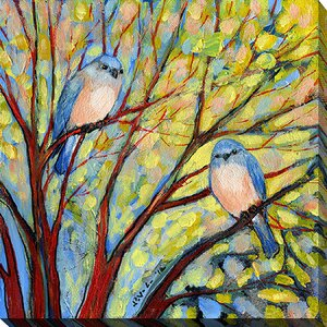 Two Birds by Jennifer Lommers Painting Print on Wrapped Canvas by Picture Perfect International