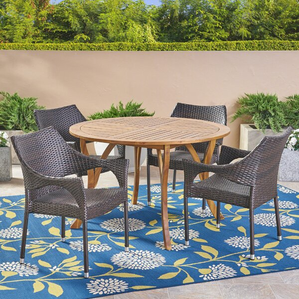 Corchado 5 Piece Teak Dining Set by Highland Dunes