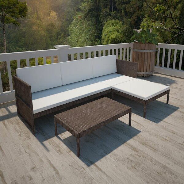 Roseville Outdoor 3 Piece Rattan Sofa Seating Group with Cushions by Orren Ellis