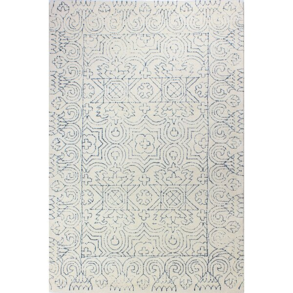 Dube Hand-Woven Wool Ivory/Teal Area Rug by Bungalow Rose