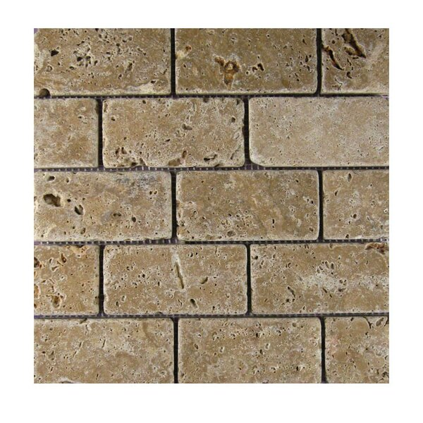 Tumbled 2 x 4 Natural Stone Mosaic Tile in Noce by QDI Surfaces