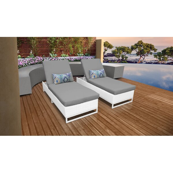 Burgoon Outdoor Chaise Lounge with Cushion (Set of 2)