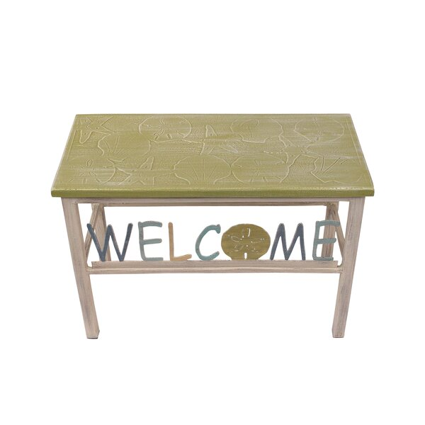 Iser Multi Shell Welcome Sand Dollar Wood Bench by Highland Dunes