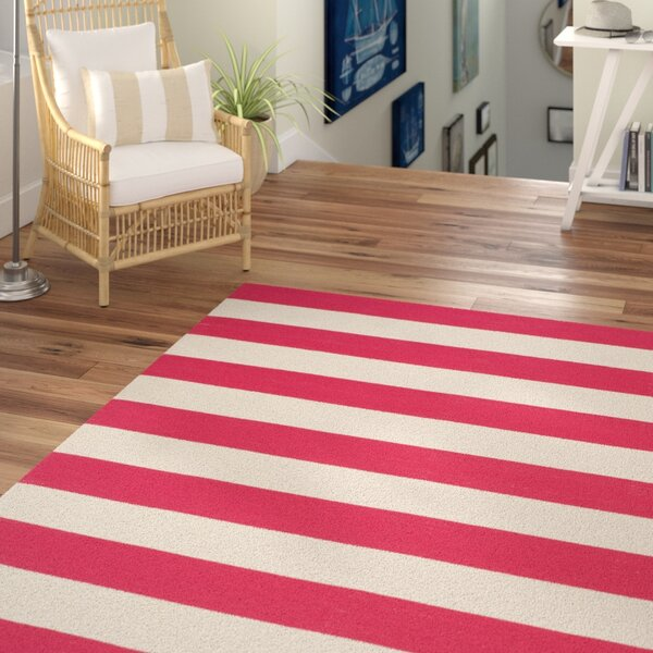 Brookvale Hand-Woven Cotton Red/White Area Rug by Beachcrest Home